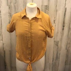 Bleuh Ciel Women's Gold Tie In Front  BlouseSz S